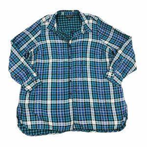 Lane Bryant Plaid Long Sleeve Button Down Shirt